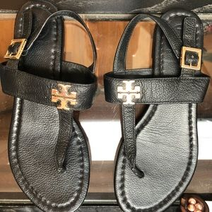 Black Adjustable Tory Burch Sandals